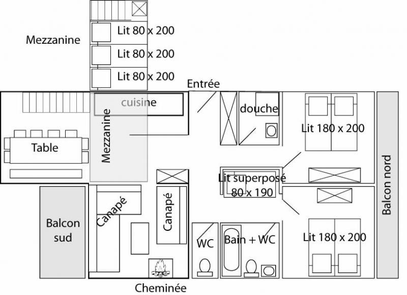 Plano del alojamiento Alquiler Apartamento 60012 Tignes