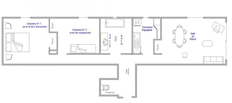 Plano del alojamiento Alquiler Apartamento 64 Alpe d'Huez